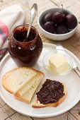 Homemade Plum Jam With Chocolate. Toasts With Jam. Rustic Style, Selective Focus. poster