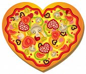 stock photo of heart shape  - Heart shaped pizza with heart shaped toppings - JPG