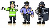 pic of crossed pistols  - Vector collection of three different police officers - JPG
