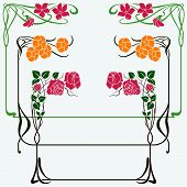 image of art nouveau  - Abstract framework from the bound plants in style art - JPG