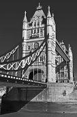 Tower bridge, London; black and white