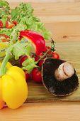 fresh vegetable salad with olive oil and mushroom