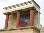 Bull Frescoe Ruins At Palace Of Knossos