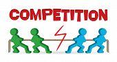 Gente de negocios de la competencia - tug of war - tirando de la cuerda