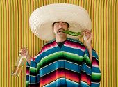 Mexican mustache chili drunk tequila sombrero man typical Mexico