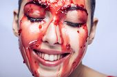 Happiness Beautiful Girl In A Raspberry Or Strawberry Jam. Jam Is Flowing In The Face And The Girl I poster