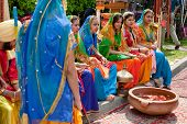 Indian Dancers Dressed In Bright National Costume