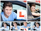 Happy Teenage Boy Showing Holding A Modern Car Key And A Learner Plate While Sitting Behind The Whee