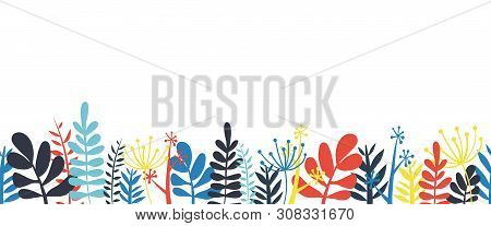 poster of Abstract Leaves Border Frame Bottom Horizontal Seamless Vector Illustration. Abstract Flowers, Leave