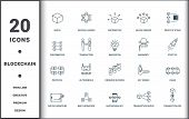Blockchain Set Icons Collection. Includes Simple Elements Such As Block, Central Ledger, Distributio poster