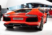 GENEVA - MARCH 8: A Lamborghini Aventador on display at the 81st International Motor Show Palexpo-Ge