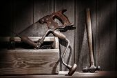 Old Antique Tools In Vintage Carpentry Workshop