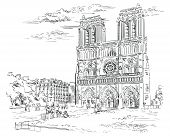 Vector Hand Drawing Illustration Of Notre Dame Cathedral (paris, France). Landmark Of Paris. Citysca poster
