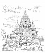 Vector Hand Drawing Illustration Of Montmartre (paris, France). Landmark Of Paris. Cityscape With Ba poster