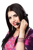 stock photo of bangla  - Beautiful Happy Indian Hindu Business Customer Service Representative at call center with headset microphone isolated - JPG