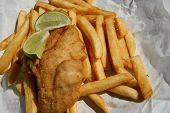 Fish Chips And Lime Wedges