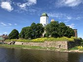Sightseeing Of Russia. Vyborg Castle - Medieval Castle In Vyborg Town, A Popular Architectural Landm poster