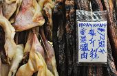 Cooked Meat Hanging At Hong Kong Market