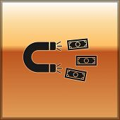 Black Magnet With Money Icon Isolated On Gold Background. Concept Of Attracting Investments, Money.  poster