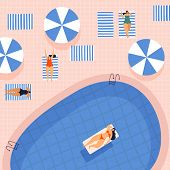 Cute Girls By Pool Relax And Spend Their Leisure Time In The Fresh Air. Young Womens In Bathing Suit poster