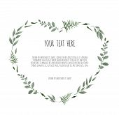 Floral Wreath - Heart Shape. Floral Vector Frame With Branches Leaves Foliage poster