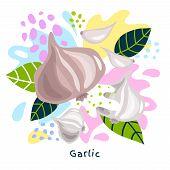 Fresh Garlic Vegetable Juice Splash Organic Food Juicy Vegetables Splatter On Abstract Coloful Splat poster