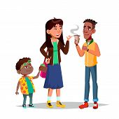 Character Little Boy Stealing Woman Money Vector. Thief Child Stealing Wallet From Young Girl Bag. M poster