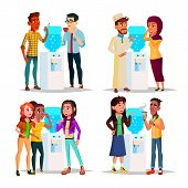 Character Water Cooler Talking Gossip Set Vector. Young Business Man And Woman Employee Colleague Go poster