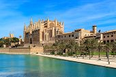 View of Parc de la Mar and famous Cathedral of Santa Maria under blues sky in Palma de Mallorca, Spa poster