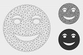 Mesh Funny Smile Model With Triangle Mosaic Icon. Wire Frame Polygonal Mesh Of Funny Smile. Vector C poster