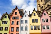 Famous Houses Of The Fish Market In Old Town Cologne, Germany. Sightseeing Of Germany. poster
