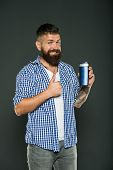 The Best Care Ever. Bearded Man Showing Thumbs Up For Hair Care Product On Grey Background. Happy Hi poster