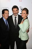 BEVERLY HILLS, CA - MAR 1: Peter Roth, Chuck Lorre, Kaley Cuoco at the Academy of Television Arts & Sciences 21st Annual Hall of Fame Ceremony on March 1, 2012 in Beverly Hills, California