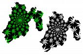 State Of Mexico (united Mexican States, Mexico, Federal Republic, Edomex) Map Is Designed Cannabis L poster