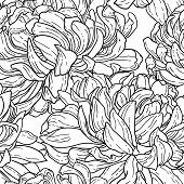 Seamless black and white pattern with chrysanthemum