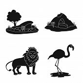 Vector Illustration Of Fauna And Entertainment Icon. Set Of Fauna And Park Vector Icon For Stock. poster