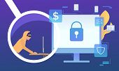 Cyber Criminal Working On Computer On Blue Background. Monitor With Lock On Screen, Fire, Money, Ema poster