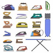 Iron Vector Ironing Electric Household Appliance Of Laundry Housework Illustration Irony Housekeepin poster