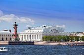 An arrow of Vasilevsky island and Rostral columns.