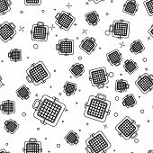 Black Pet Carry Case Icon Isolated Seamless Pattern On White Background. Carrier For Animals, Dog An poster