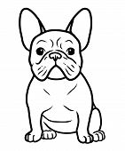 French Bulldog Black And White Hand Drawn Cartoon Portrait Vector Illustration. Funny French Bulldog poster