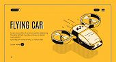 Future Taxi Service Isometric Web Banner. Flying Car, Futuristic Copter With Two Propellers For Pass poster