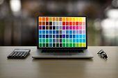 Creative Designer Graphic At Work. , Illustrator Graphic Designer Working Digital Tablet And Compute poster