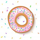 Donut With A Pink Icing Sprinkled With Grains. Realistic Colorful Donut On White Sprinkled With Grai poster