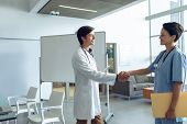 Side view of male happy Caucasian doctor shaking hands with smiling female Caucasian nurse in the ho poster