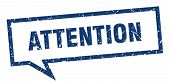 Attention Speech Bubble On White Background. Attention Sign poster
