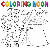 Coloring Book Hiker Boy Topic 1 - Eps10 Vector Picture Illustration. poster