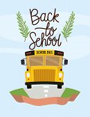 School Bus Transport In The Terrain Vector Illustration Design poster