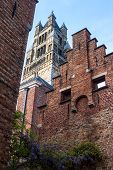 Traditional Architecture And Saint Salvator Cathedral In Bruges, Belgium poster
