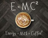 The Cup Of Black Energy Coffee With Milk And Two Funny Formulas. Wooden Background. poster